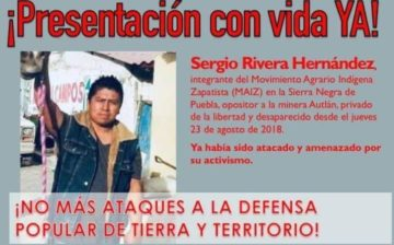 International alert: Indigenous activist who campaigns against hydroelectric dam has gone missing in Puebla state, central Mexico
