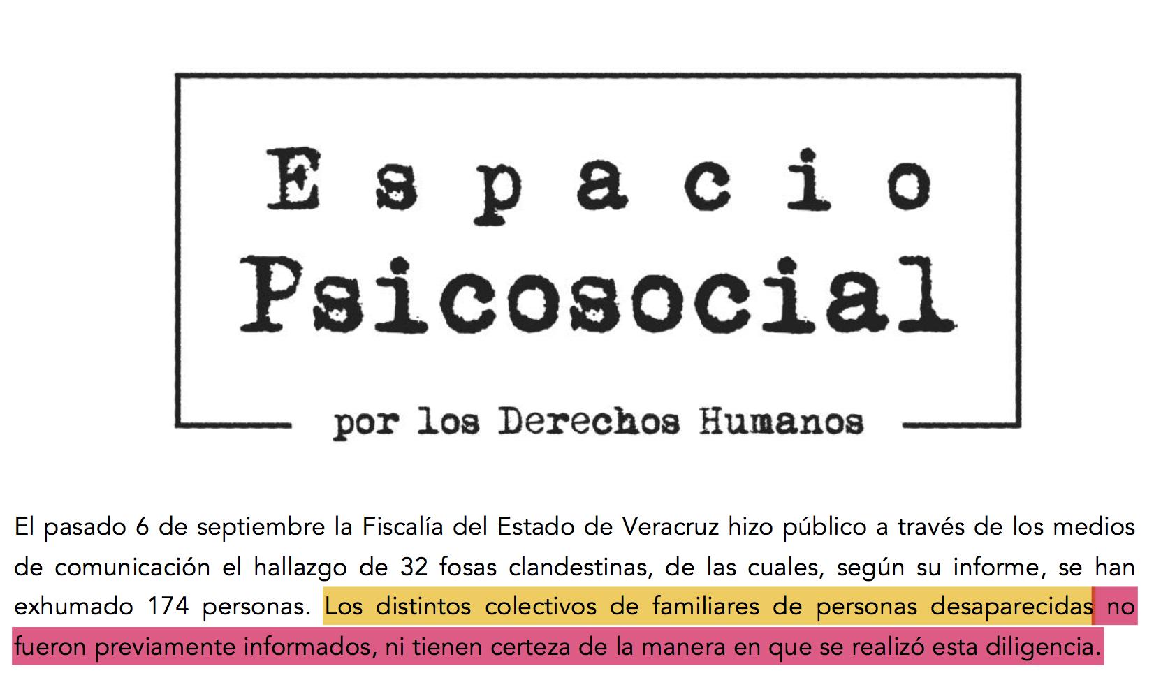 32 Fosas en Veracruz (Pronunciamiento Espacio Psicosocial)