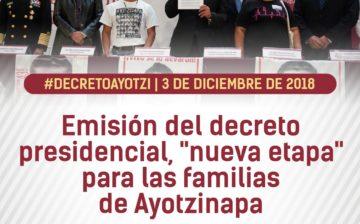 """Firma del decreto presidencial, """"nueva etapa"""" para las familias de Ayotzinapa"""